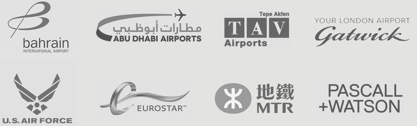 omk client partner logos bahrain international airport abu dhabi tepe akfen london gatwick US air force eurostar MTR pascall and watson architects