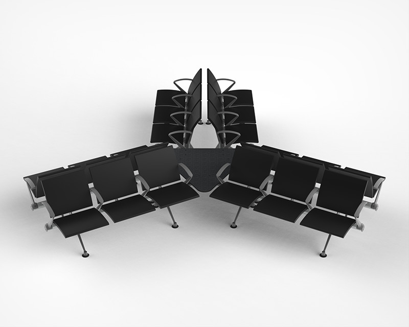flite hub with seats connected by triangular table