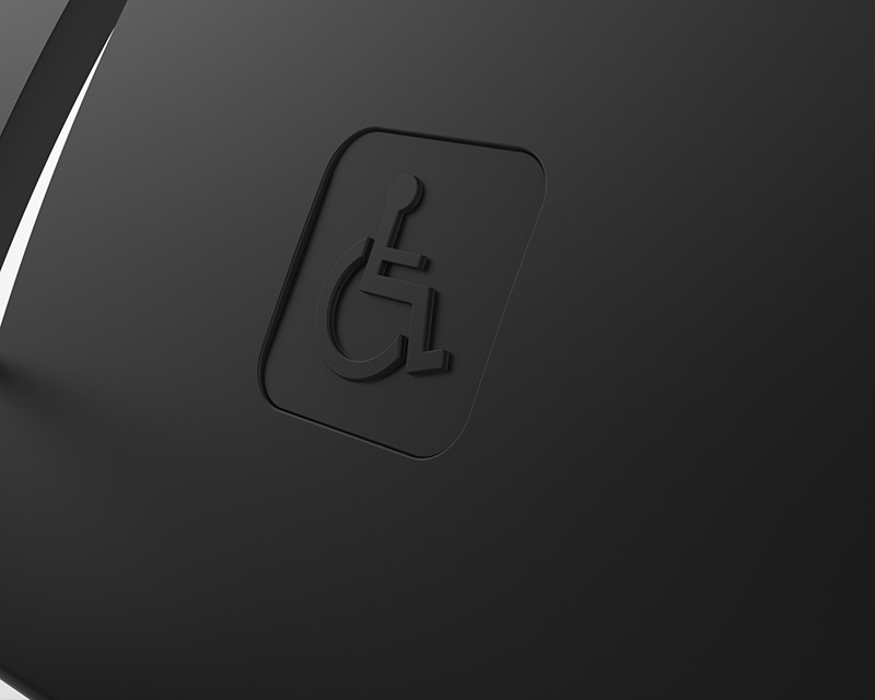 embossed prm ddr disability logo in seat back rest