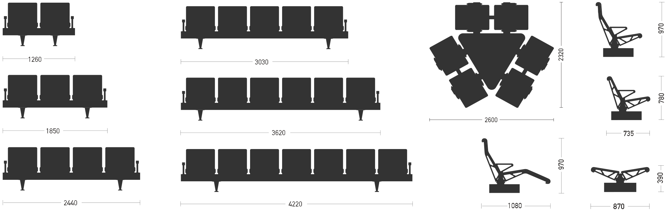 trax seating length height dimensions